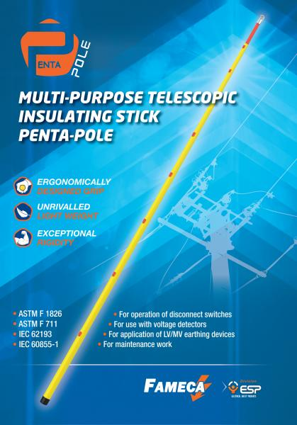 Telescopic insulating stick : Penta-Pole